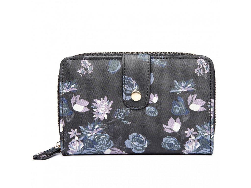 Dámska peňaženka -čierna s ružami - malá