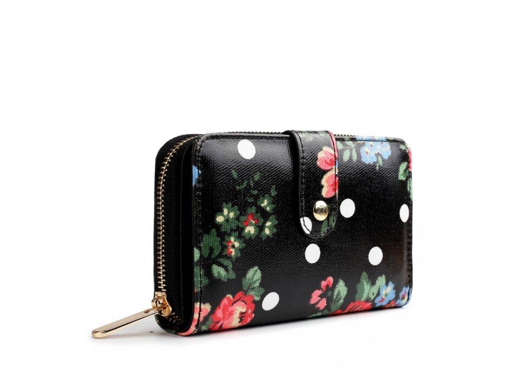 Dámska peňaženka - čierna bodkovaná s ružami - malá - Batoháreň.sk 3e9b7aa50d8