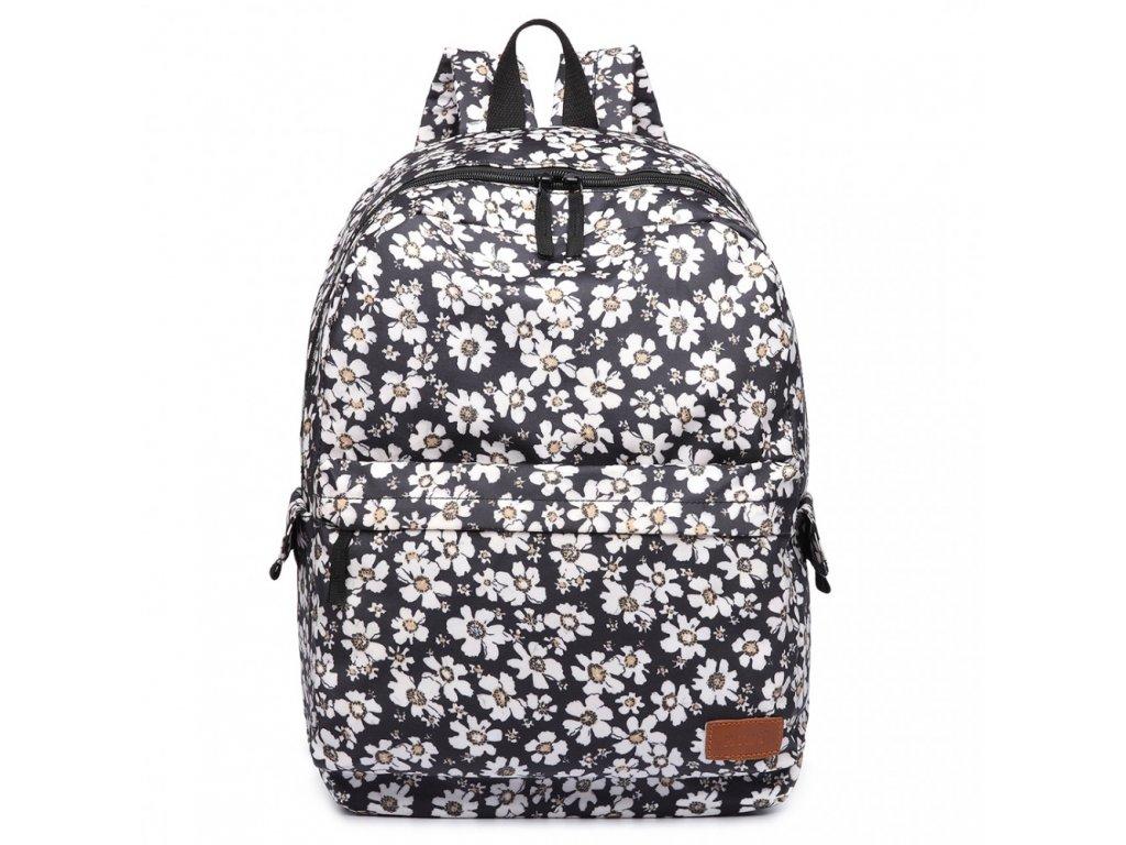 Nepremokavý batoh na chrbát s potlačou - čierny kvetinkový