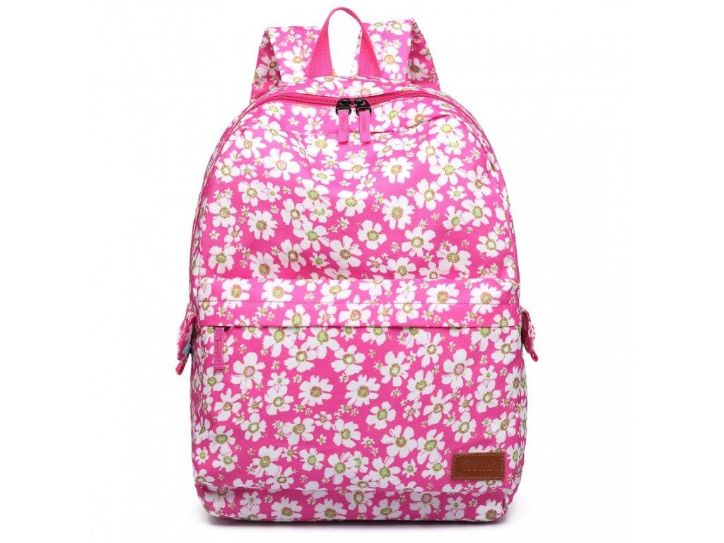 Nepremokavý batoh na chrbát s potlačou - ružový kvetinkový