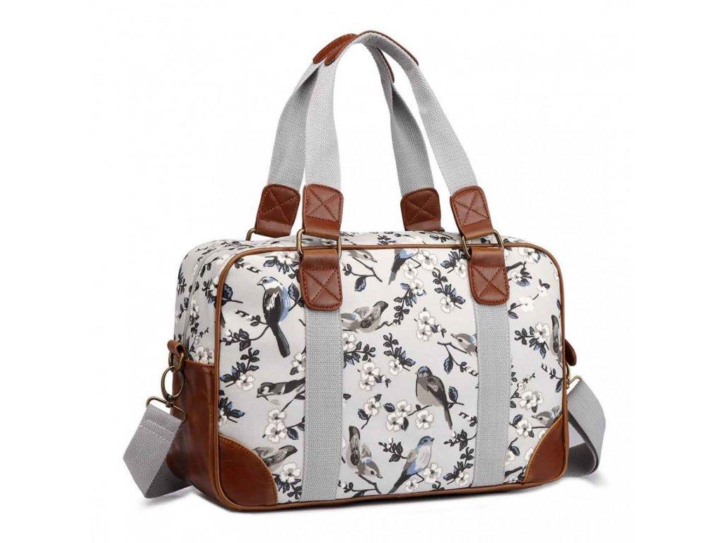 fa10ee08b Malá cestovná taška - sivá vtáčiky · Malá cestovná taška - sivá vtáčiky ...