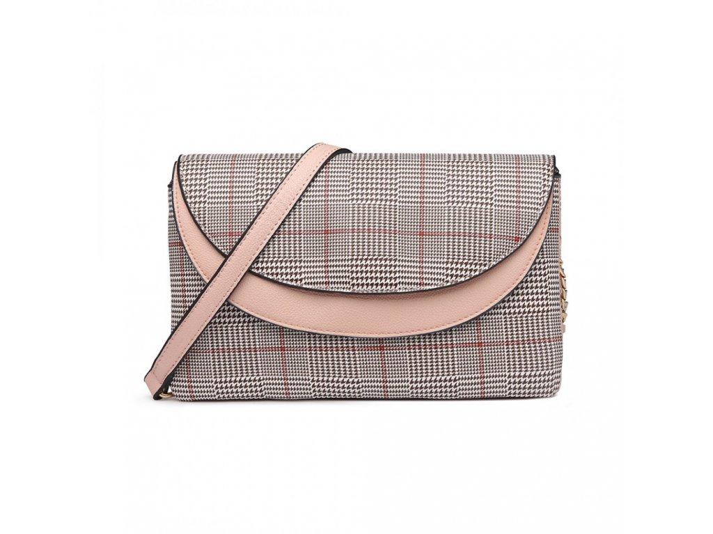 Elegantná crossbody kabelka - ružová kockovaná