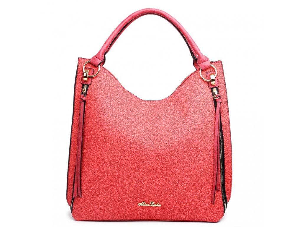 Elegantná kabelka na rameno - textúrovaná koža - červená