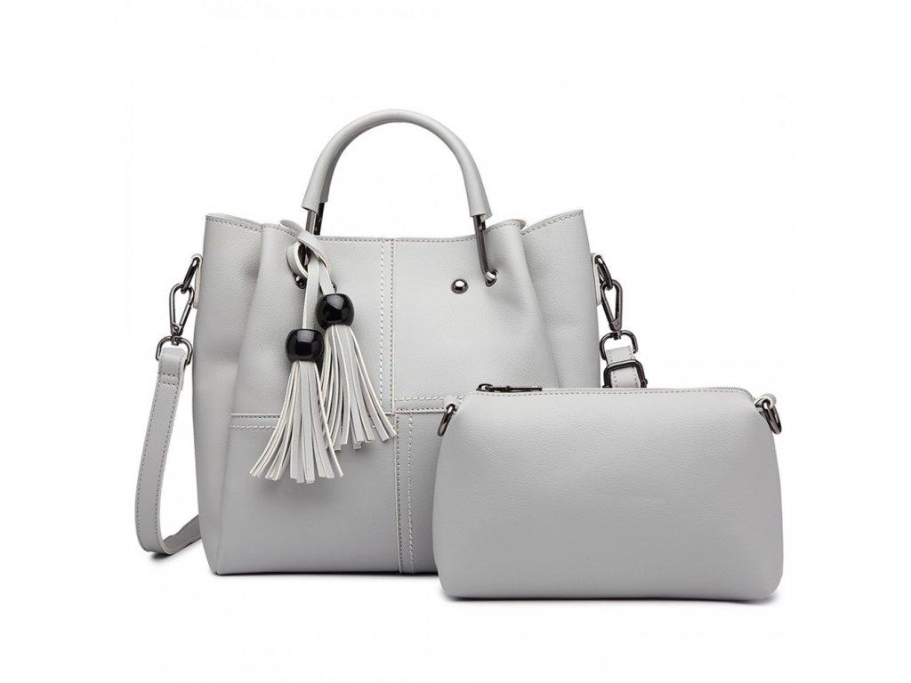 Luxusná dizajnová kabelka so strapcami - svetlo-sivá