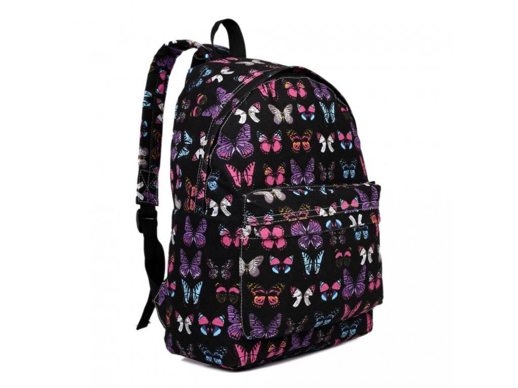 Batoh na chrbát s potlačou - čierny s motýlikmi