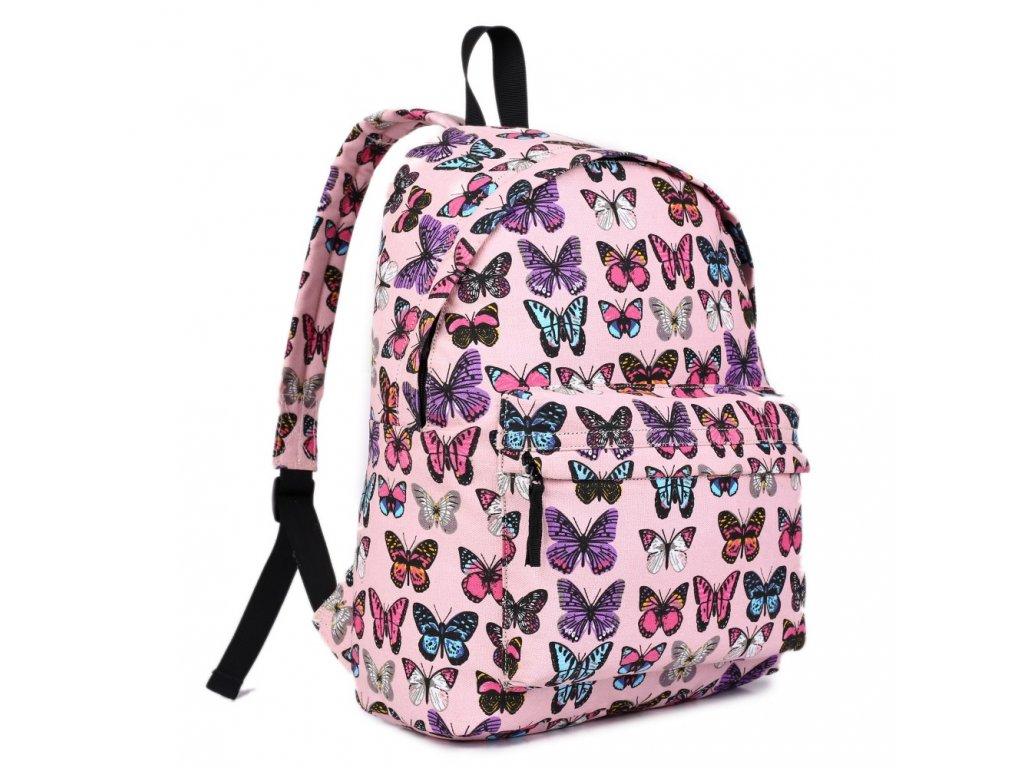 Batoh na chrbát s potlačou - ružový s motýlikmi