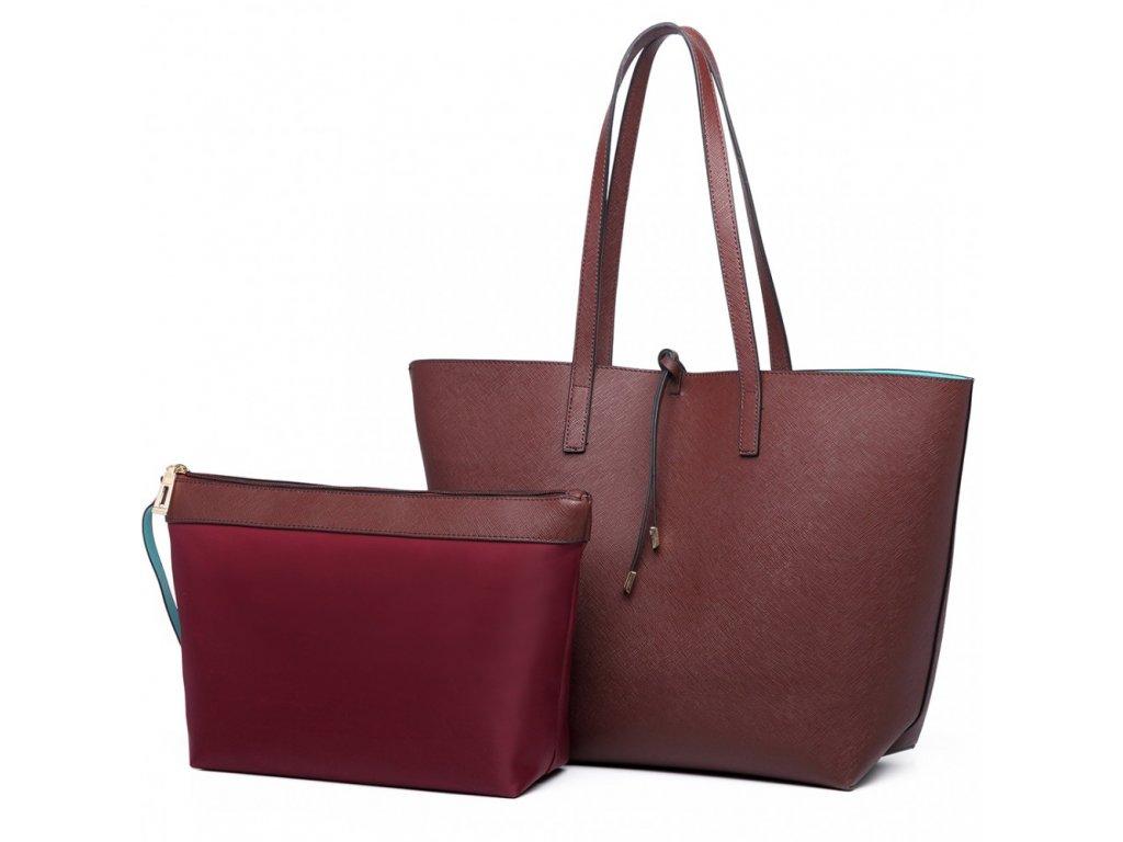Obojstranná kabelka na rameno s kozmetickou taštičkou - kávovo-tyrkysová