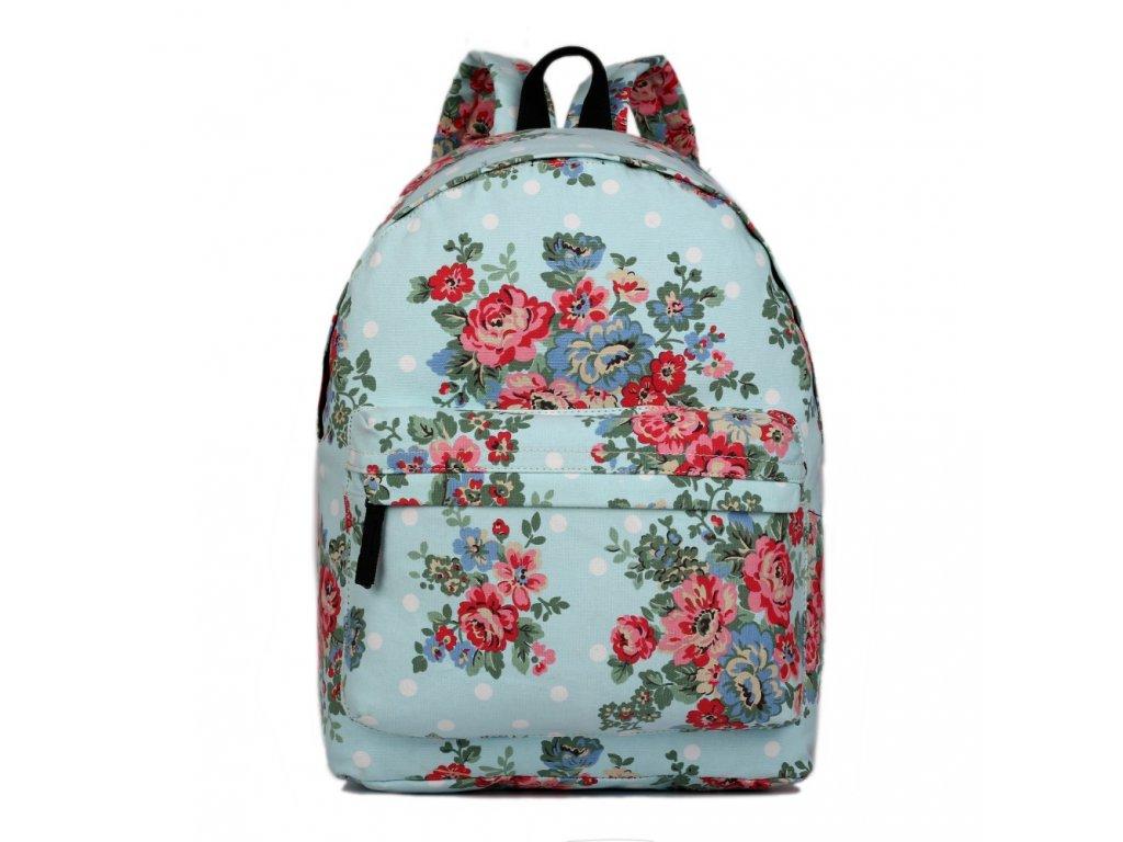 Batoh na chrbát s potlačou - modrý s ružičkami