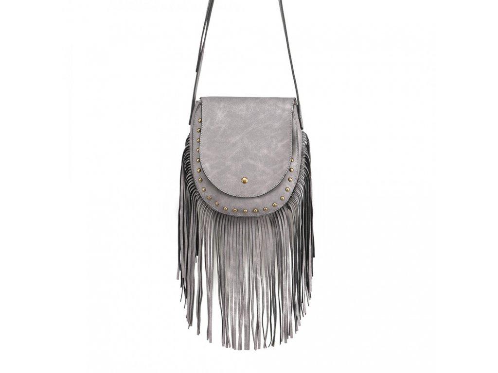 Crossbody kabelka so strapcami - sivá