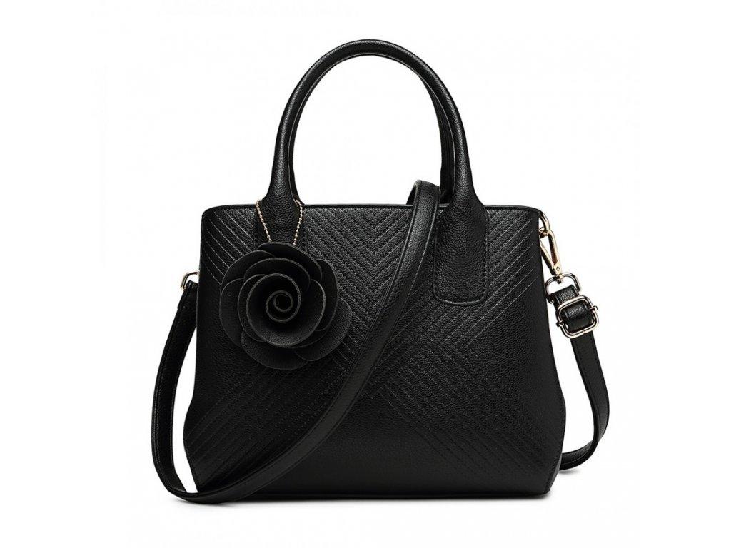 Elegantná kabelka s príveskom Rose - čierna