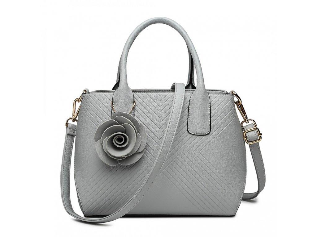 Elegantná kabelka s príveskom Rose - sivá