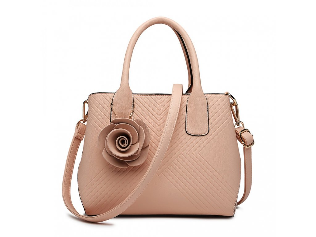 Elegantná kabelka s príveskom Rose - ružová
