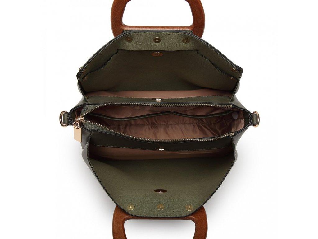 ... Luxusná elegantná kabelka s drevenou rukoväťou Daniela - zelená ... ffc5d333013