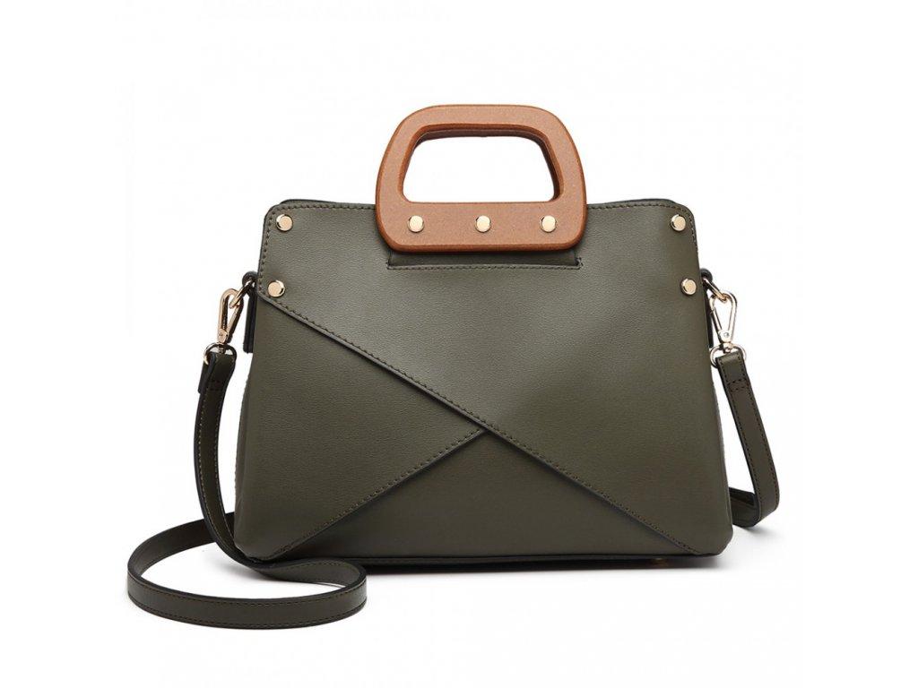 Luxusná elegantná kabelka s drevenou rukoväťou Daniela - zelená