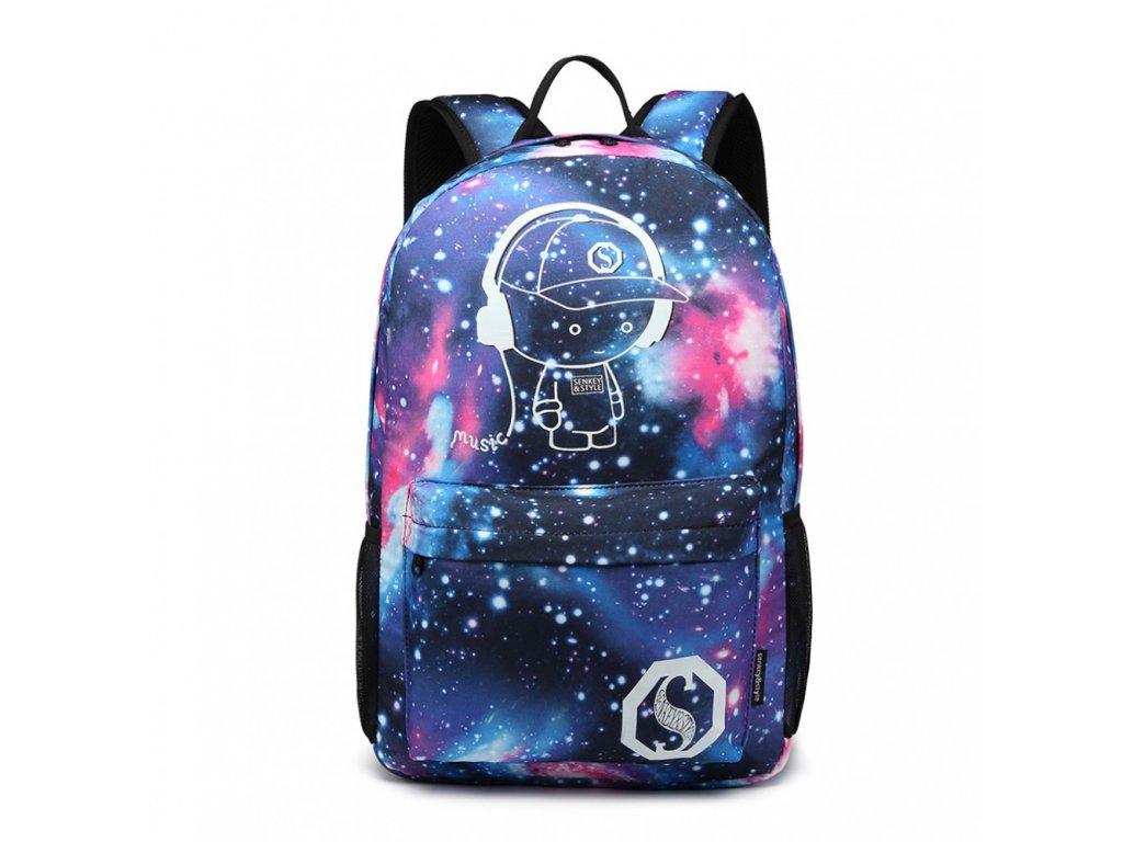 Chlapčenský svietiaci školský batoh - Galaxy - modrý