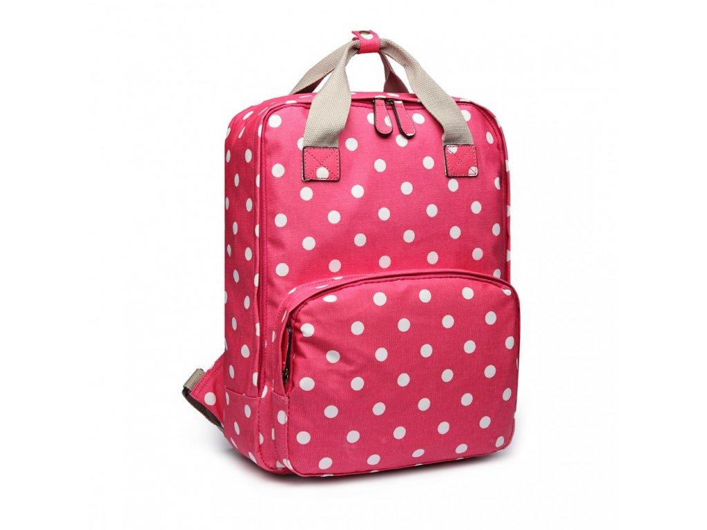 Retro batoh Polka - ružový bodkovaný