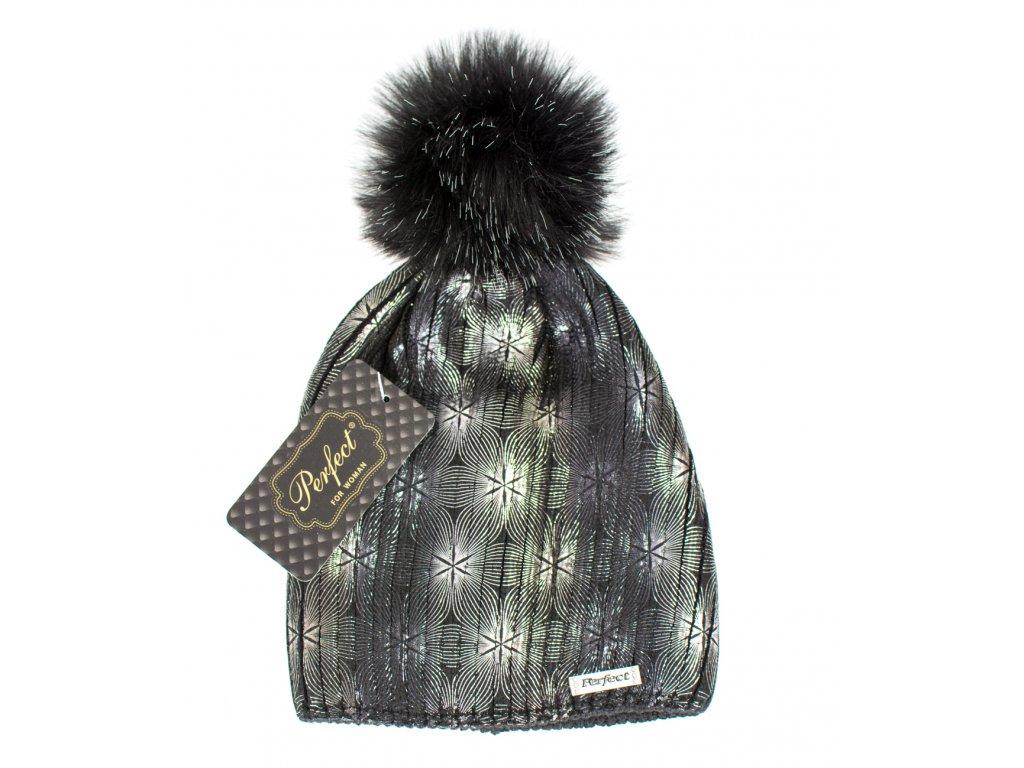 Dámska dizajnová čiapka čierna - strieborná potlač