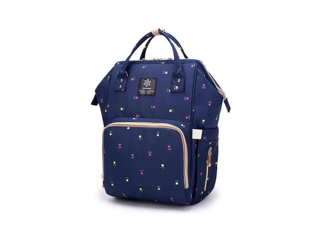 Multifunkčný batoh na kočík so zabudovaným ohrievačom a USB portom - modrý kvetinkový