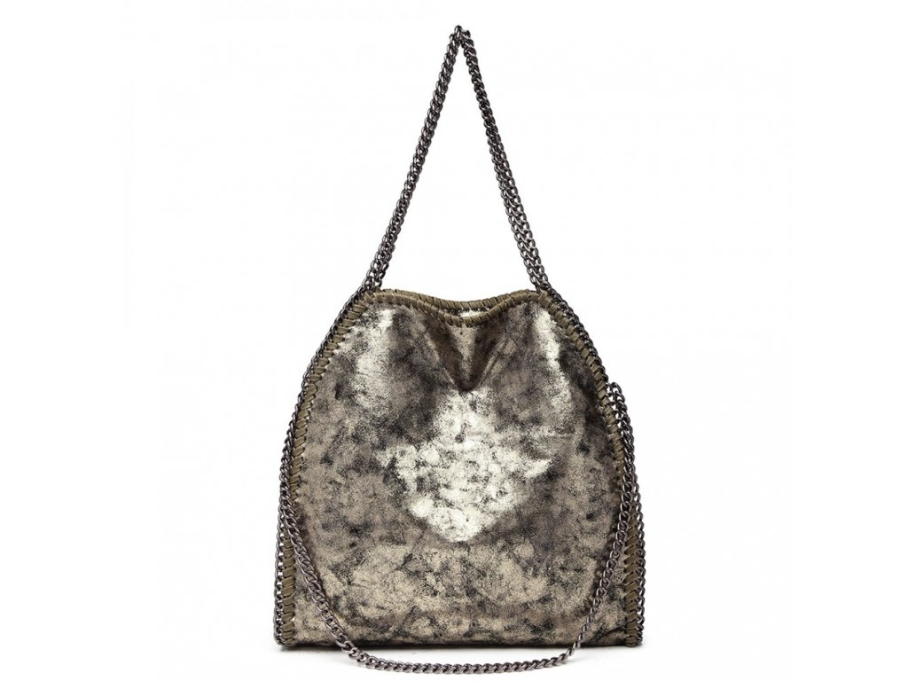 Veľká dámska kabelka s retiazkami - zlatá
