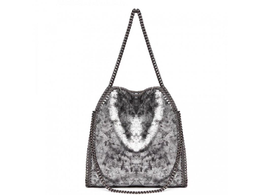 Veľká dámska kabelka s retiazkami - strieborná