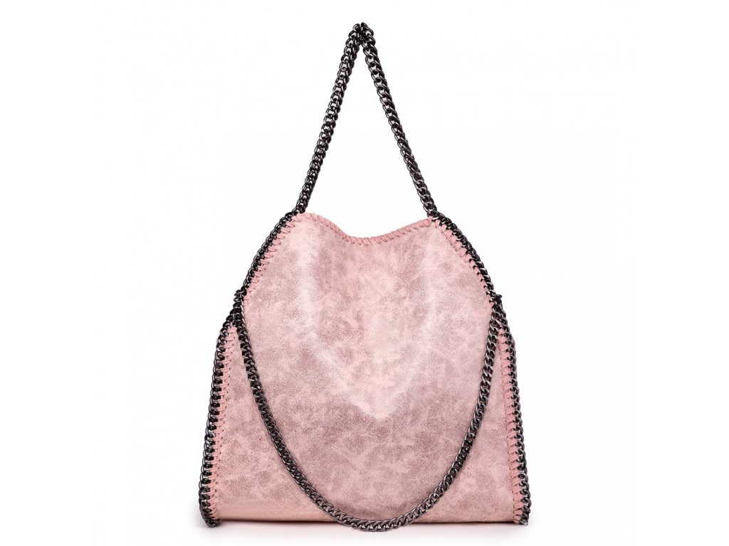 Veľká dámska kabelka s retiazkami - nude