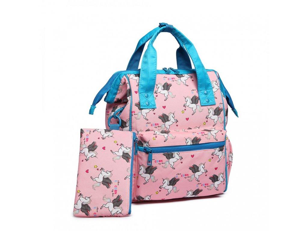 Univerzálny batoh s potlačou jednorožcov - ružový
