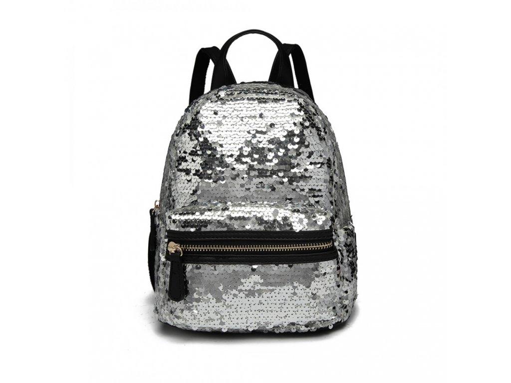 Flitrový designový batůžek - stříbrný