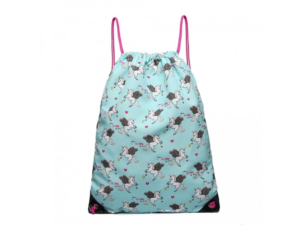 Vak na chrbát s jednorožcami - modrý