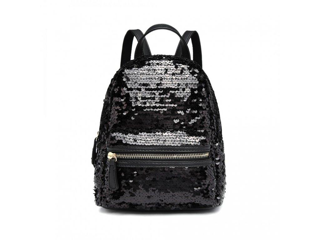 Flitrový dizajnový batôžtek - čierny
