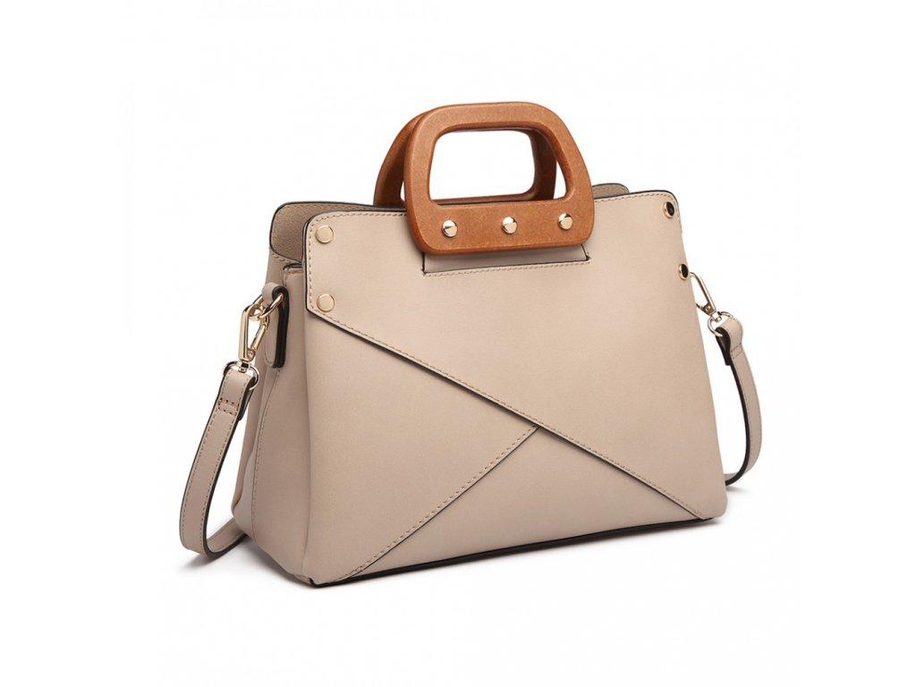 ... Luxusná elegantná kabelka s drevenou rukoväťou Daniela - marhuľová ... 3be06387923
