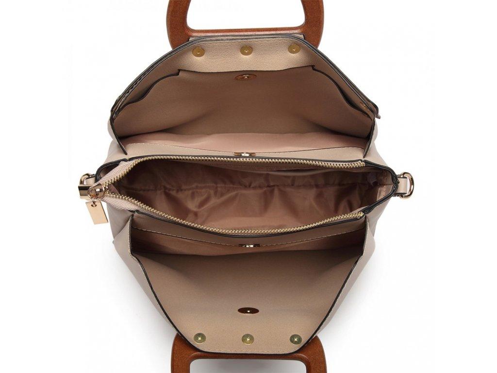 9b3e369f4624a ... Luxusná elegantná kabelka s drevenou rukoväťou Daniela - marhuľová ...