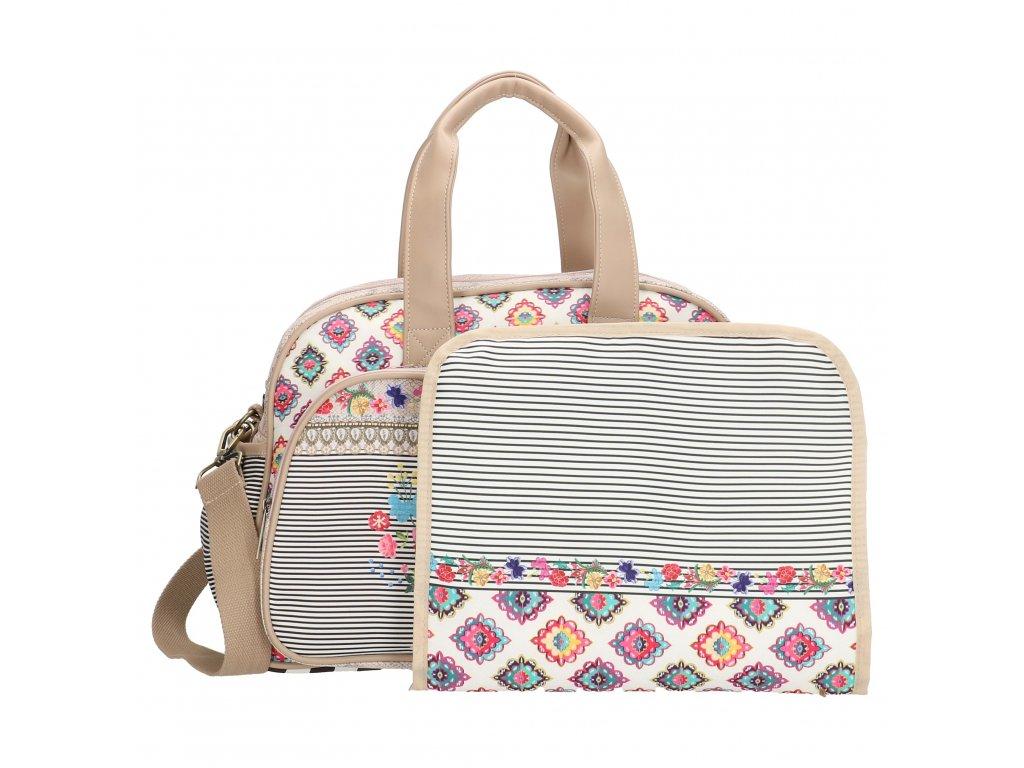 c911c88d376e4 Luxusná prebalovacia taška Melli Mello - Beige Multi - Batoháreň.sk