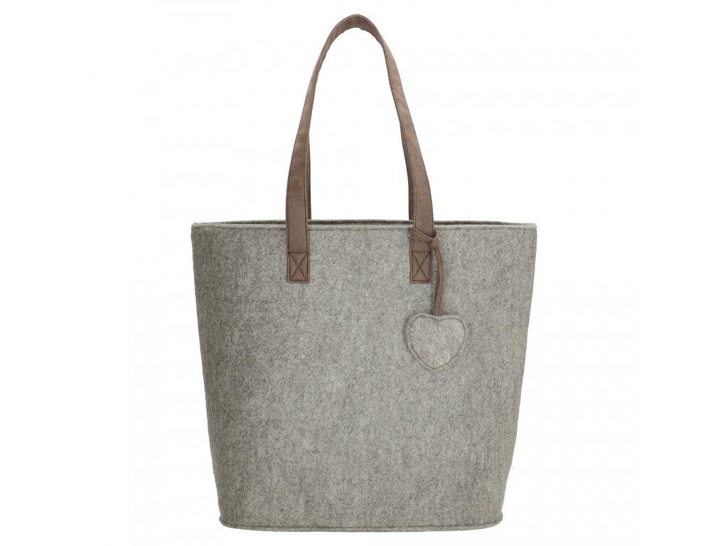 Filcová kabelka na rameno Beagles - sivá