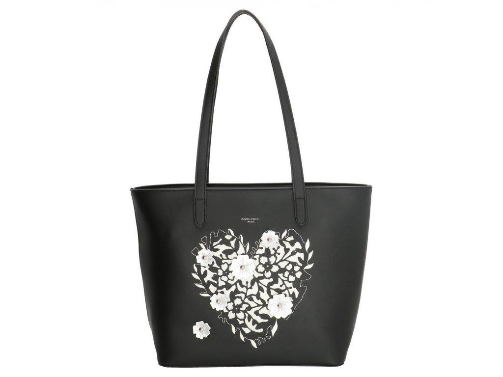 Elegantná taška na rameno David Jones - Heart - Čierna