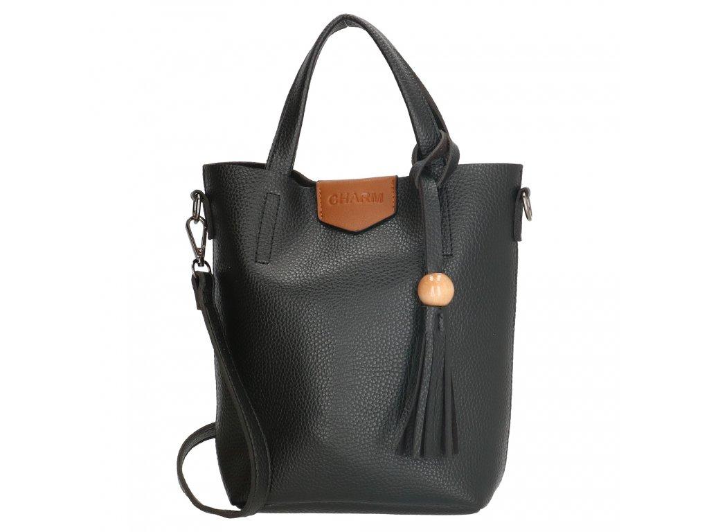 Štýlová kabelka Charm so strapcom - čierna