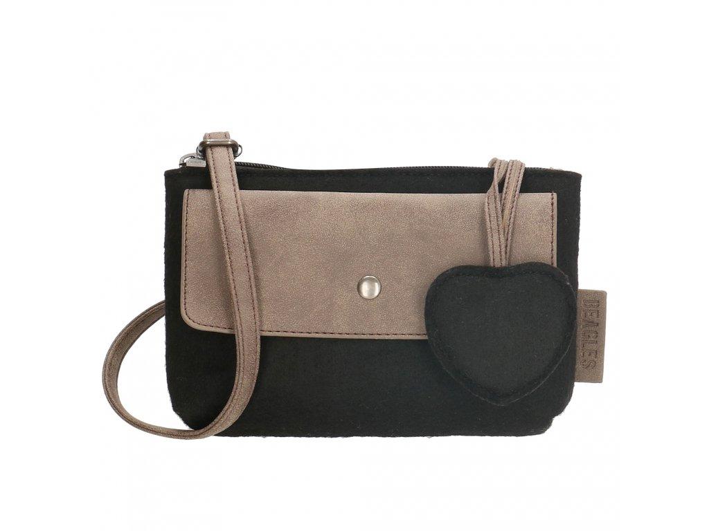 Malá filcová taška cez rameno Beagles - čierna