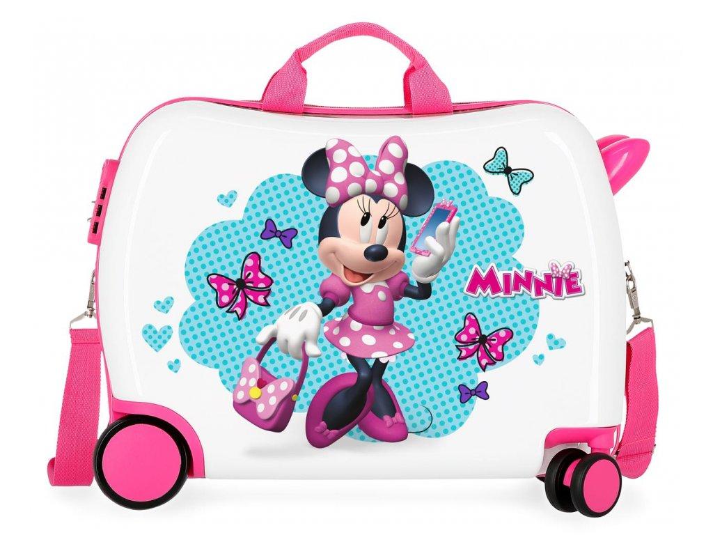 Detský kufor na kolieskach - odrážadlo - Minnie Good Mood
