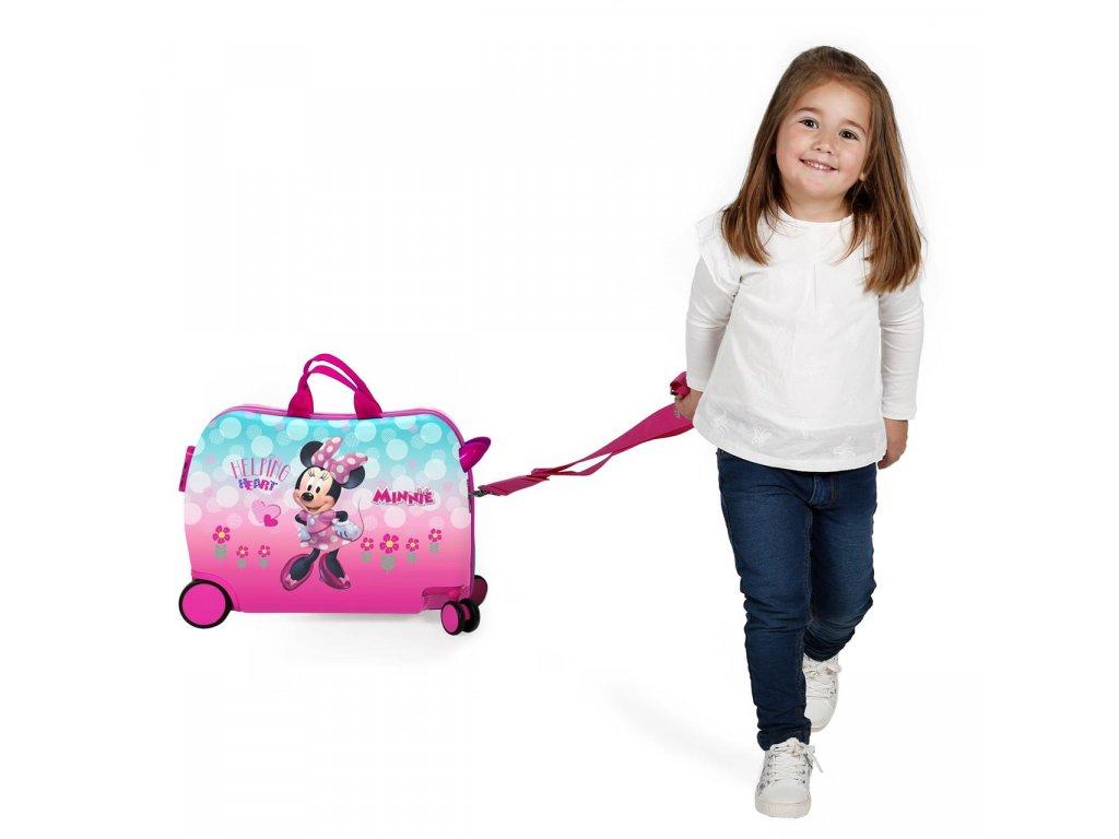 f340f6074f0d1 ... Detský kufor na kolieskach - odrážadlo - Minnie Helping Heart ...