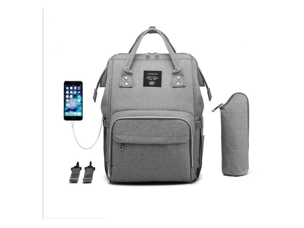 Multifunkčný batoh na kočík s USB portom - Sivý