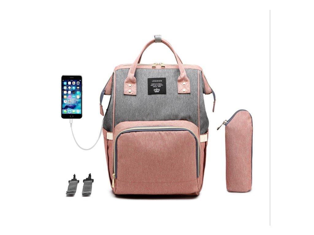Multifunkční batoh na kočárek se zabudovaným USB portem - Šedo Růžový