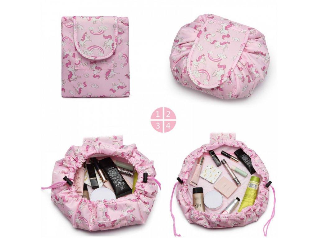 Cestovná kozmetická taštička - Jednorožci - ružová