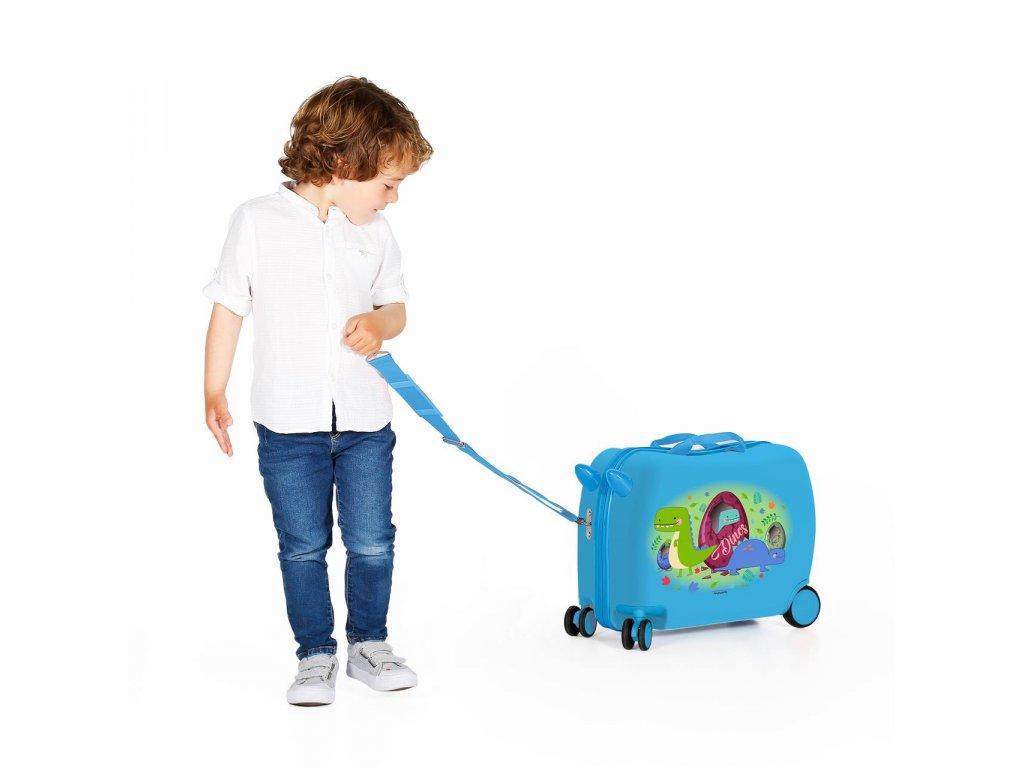 Detský kufor na kolieskach - odrážadlo - Dinos