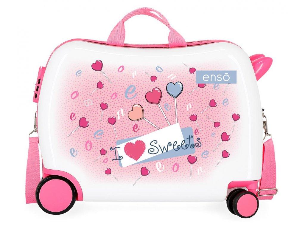 Detský kufor na kolieskach - odrážadlo - Enso Sweets