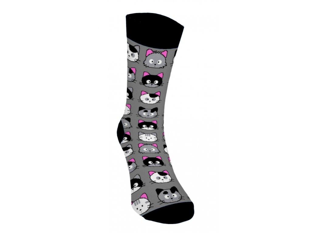 eselé ponožky - Mačičky 4 - Sivé