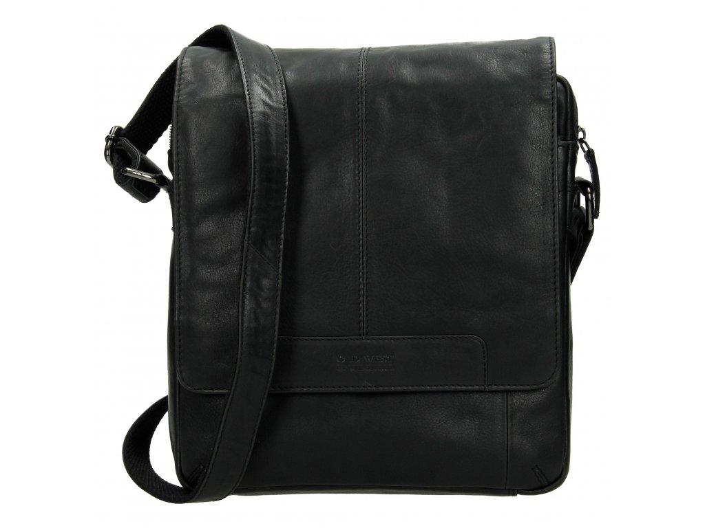 Pánska kožená crossbody taška - čierna