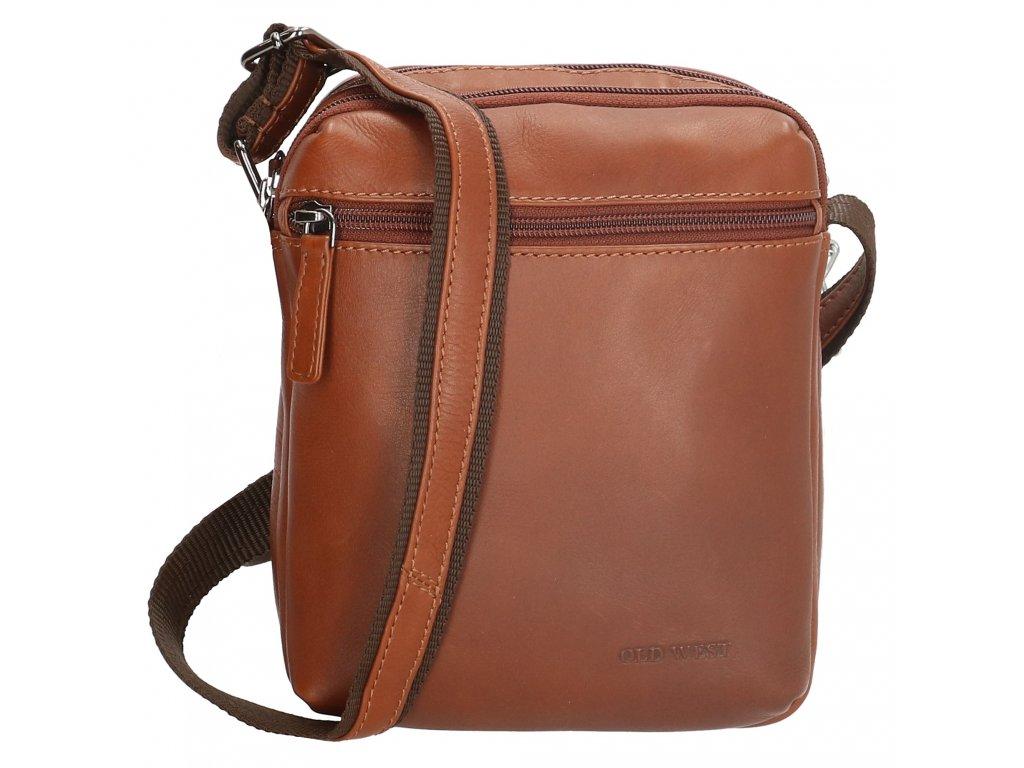Pánska kožená taška cez rameno Houston - hnedá