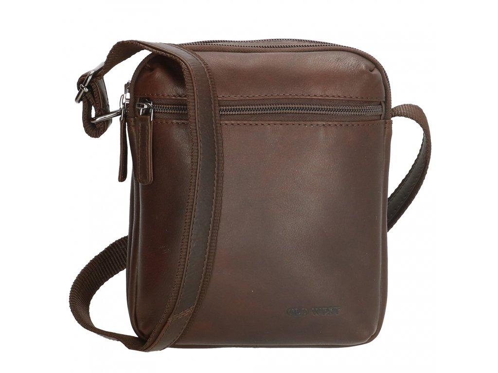 Pánska kožená taška cez rameno Houston - tmavo hnedá