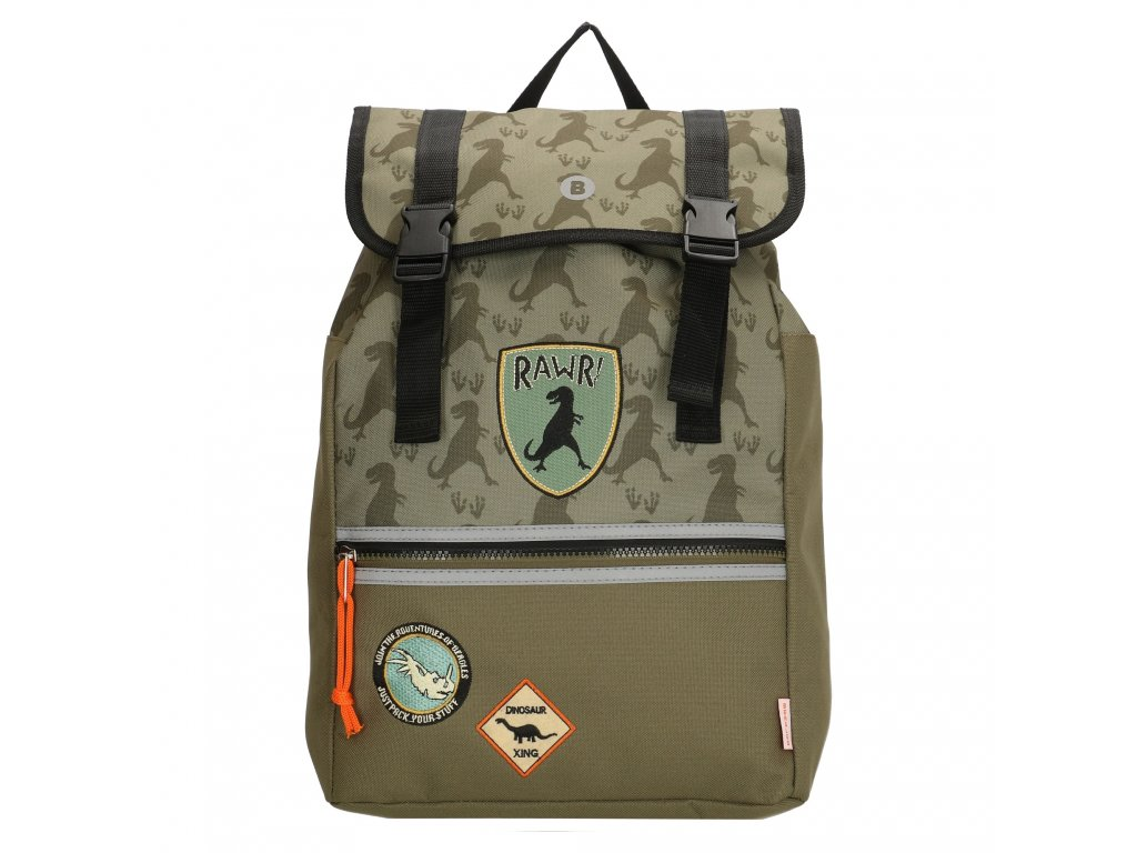 Školský batoh v dinosaurom štýle - Beagles - olivový