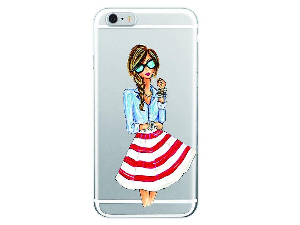 Kryt na mobil Iphone - Slečna v červeno bielej sukni