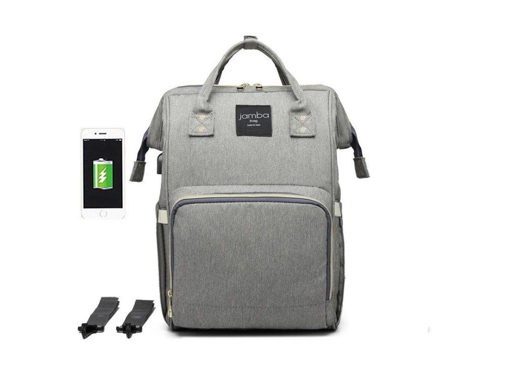 Multifunkčný batoh na kočík so zabudovaným ohrievačom a USB portom - sivý